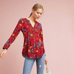 Anthropologie Maeve Red Printed Pintucked Blouse
